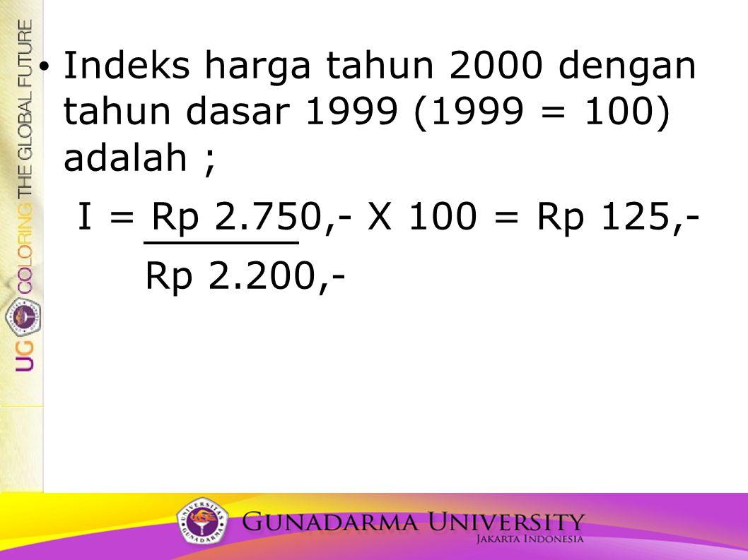 Indeks harga tahun 2000 dengan tahun dasar 1999 (1999 = 100) adalah ;