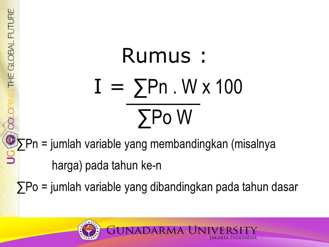 Rumus : I = ∑Pn . W x 100. ∑Po W. ∑Pn = jumlah variable yang membandingkan (misalnya. harga) pada tahun ke-n.