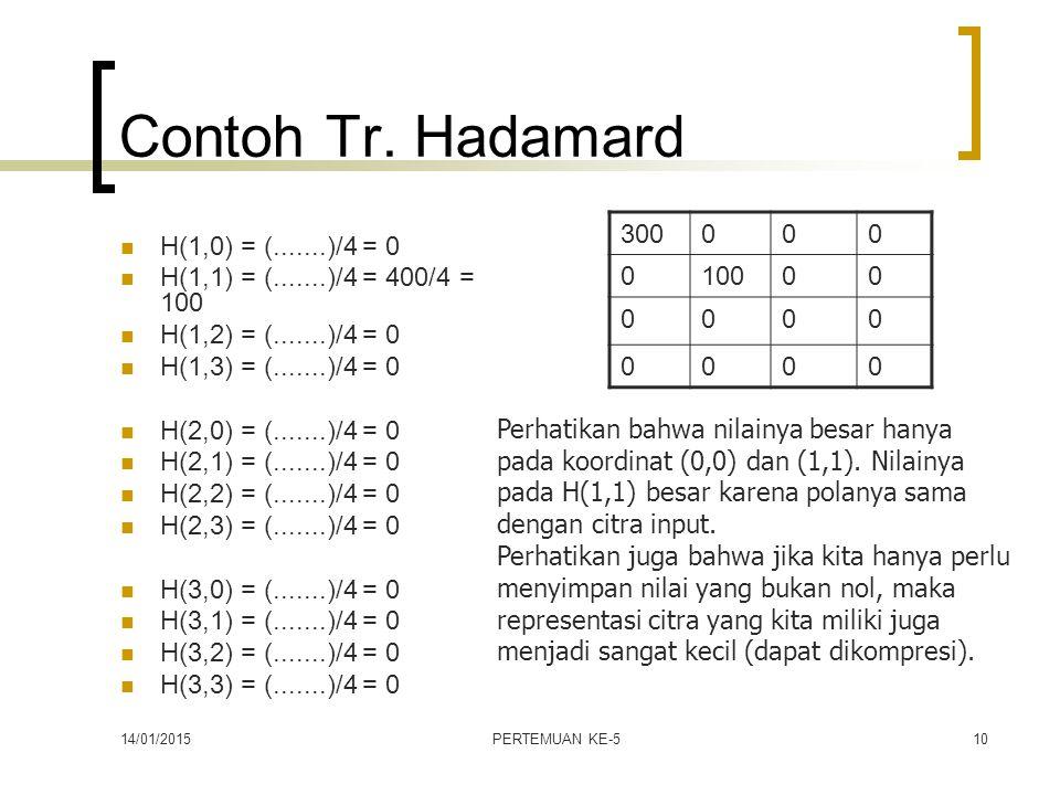 Contoh Tr. Hadamard 300 100 H(1,0) = (.......)/4 = 0
