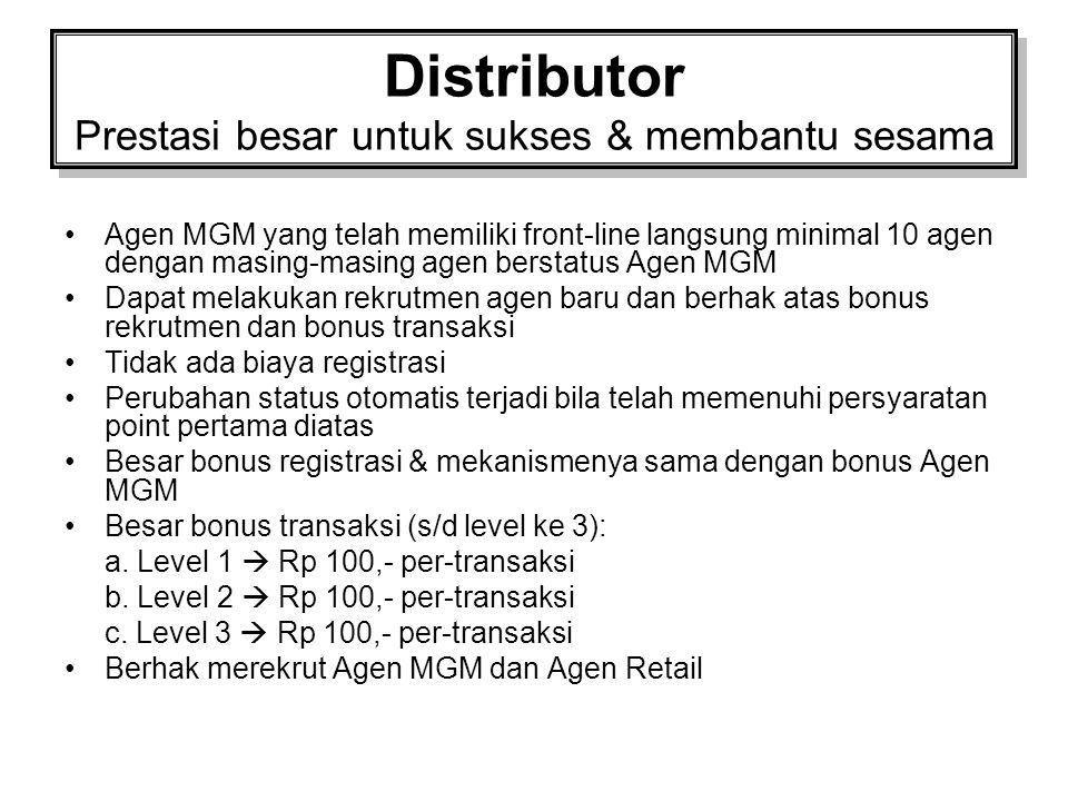 Distributor Prestasi besar untuk sukses & membantu sesama
