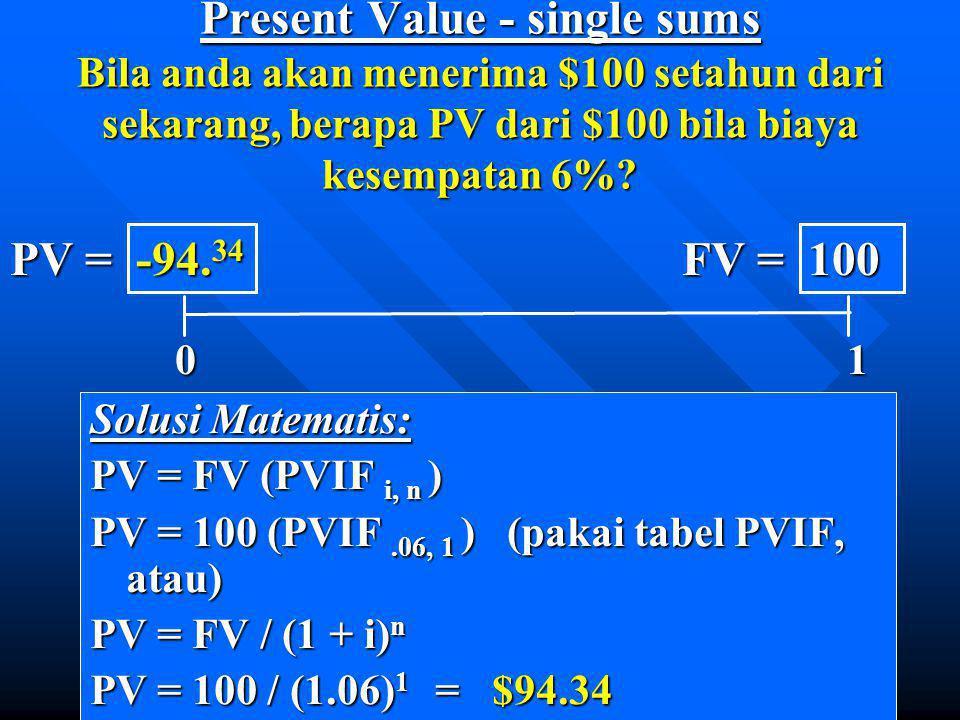 Present Value - single sums Bila anda akan menerima $100 setahun dari sekarang, berapa PV dari $100 bila biaya kesempatan 6%