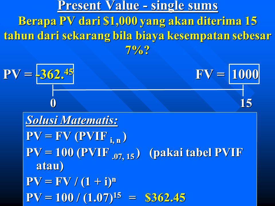 Present Value - single sums Berapa PV dari $1,000 yang akan diterima 15 tahun dari sekarang bila biaya kesempatan sebesar 7%