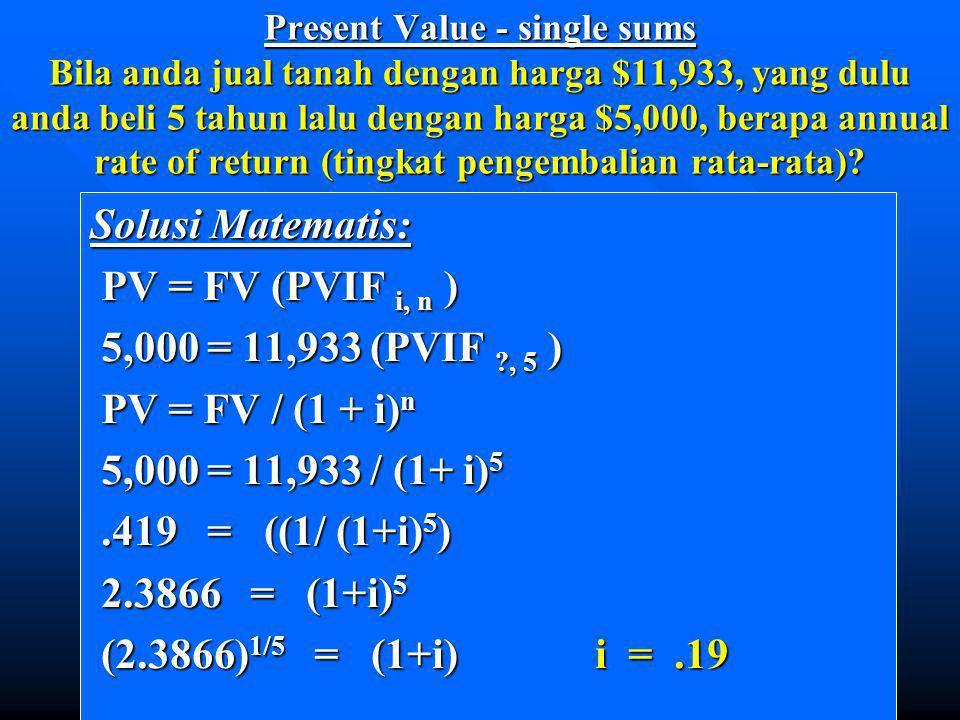 Solusi Matematis: PV = FV (PVIF i, n ) 5,000 = 11,933 (PVIF , 5 )