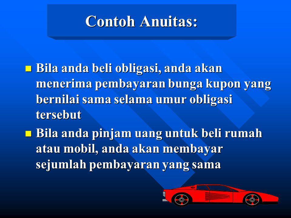 Contoh Anuitas: Bila anda beli obligasi, anda akan menerima pembayaran bunga kupon yang bernilai sama selama umur obligasi tersebut.