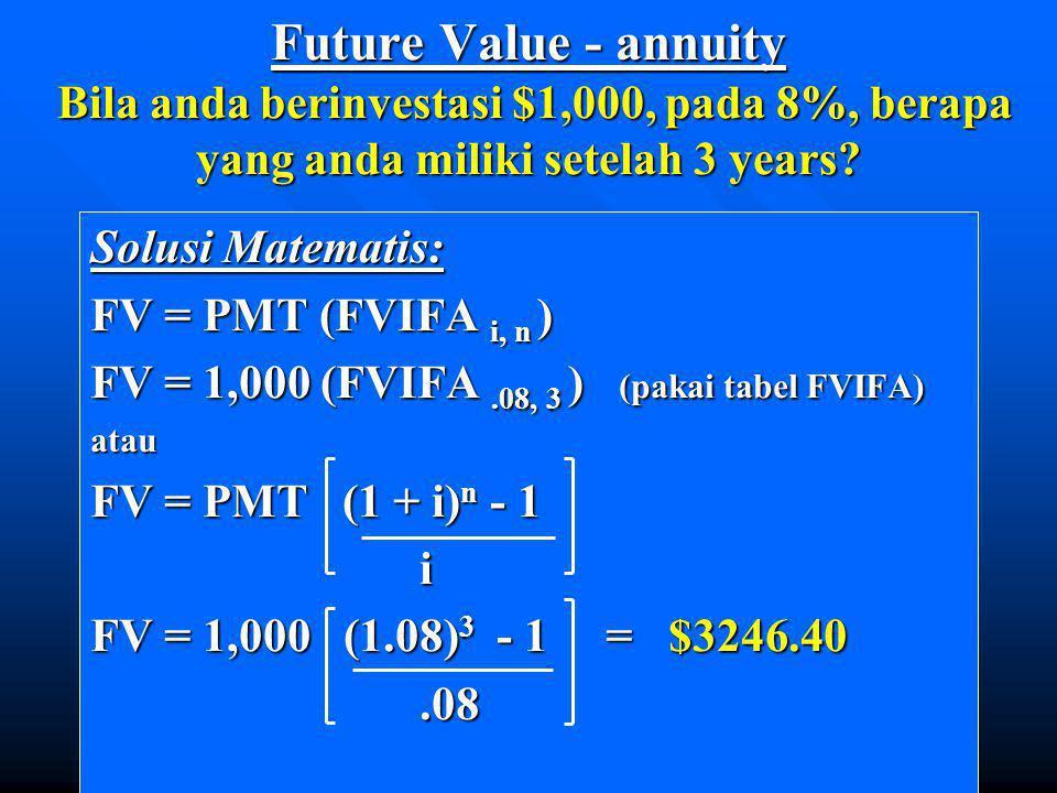 Future Value - annuity Bila anda berinvestasi $1,000, pada 8%, berapa yang anda miliki setelah 3 years