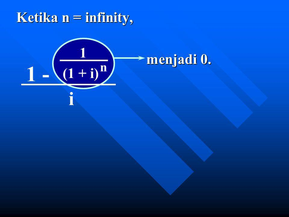 Ketika n = infinity, menjadi 0. 1 1 - n (1 + i) i
