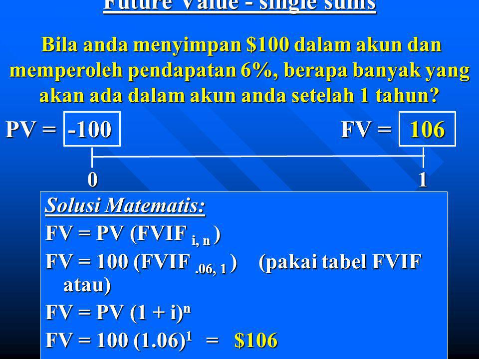 Future Value - single sums Bila anda menyimpan $100 dalam akun dan memperoleh pendapatan 6%, berapa banyak yang akan ada dalam akun anda setelah 1 tahun