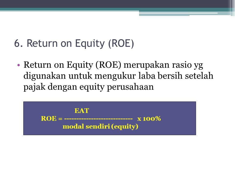 6. Return on Equity (ROE) Return on Equity (ROE) merupakan rasio yg digunakan untuk mengukur laba bersih setelah pajak dengan equity perusahaan.