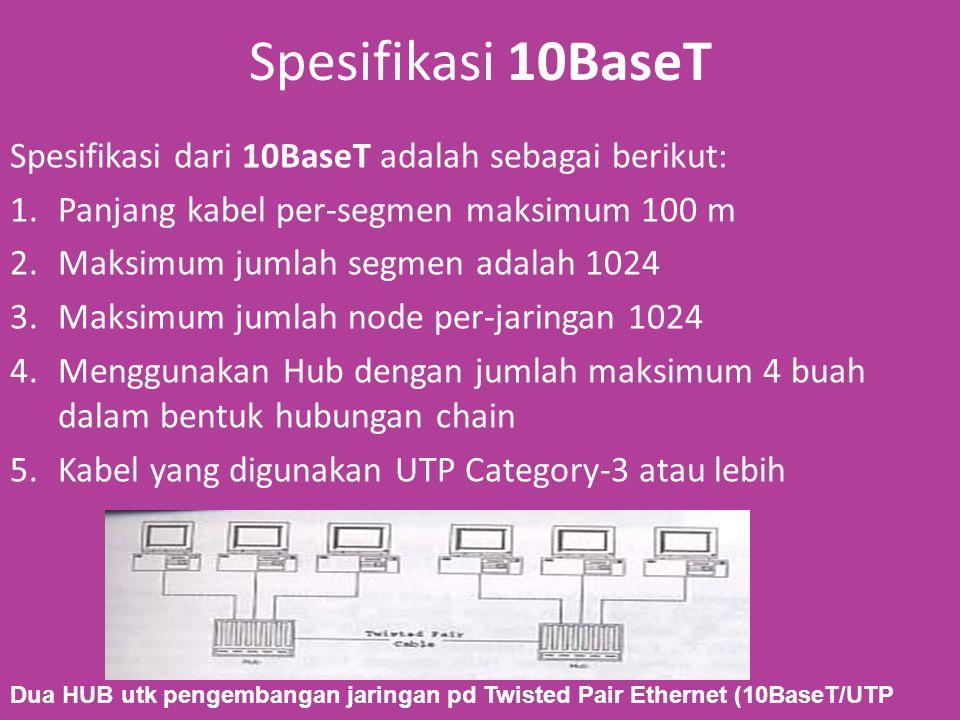 Spesifikasi 10BaseT Spesifikasi dari 10BaseT adalah sebagai berikut: