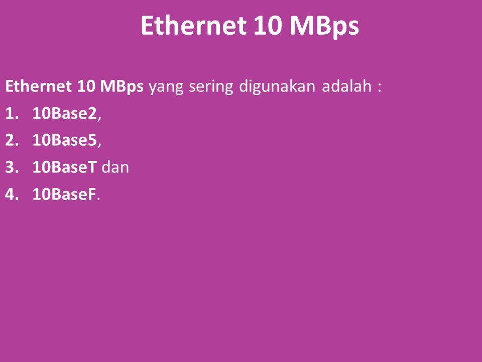 Ethernet 10 MBps Ethernet 10 MBps yang sering digunakan adalah :