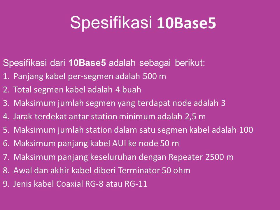 Spesifikasi 10Base5 Spesifikasi dari 10Base5 adalah sebagai berikut: