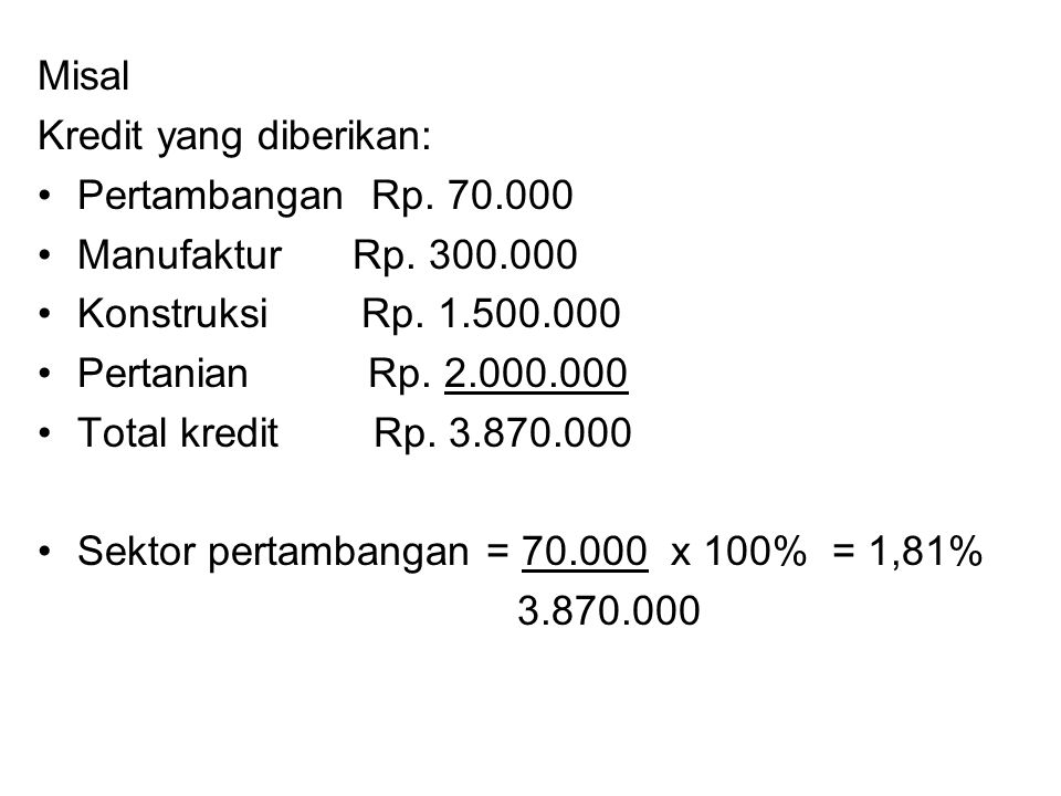 Misal Kredit yang diberikan: Pertambangan Rp. 70.000. Manufaktur Rp. 300.000. Konstruksi Rp. 1.500.000.
