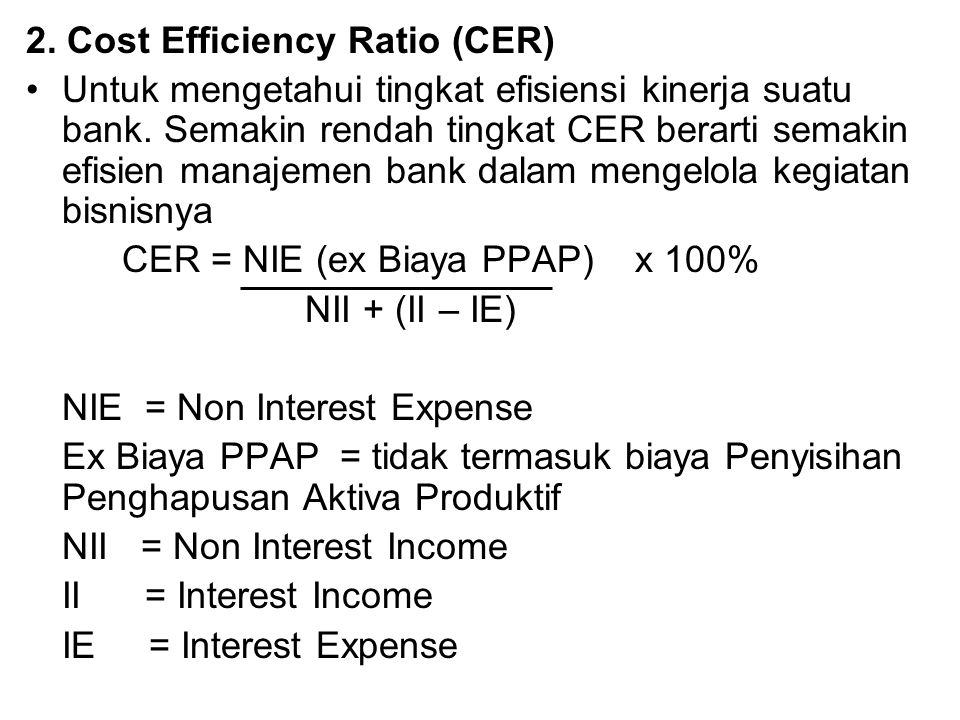 2. Cost Efficiency Ratio (CER)