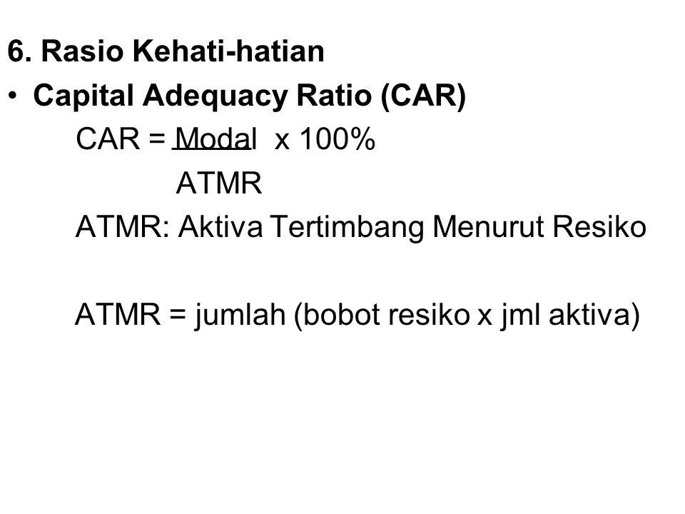 6. Rasio Kehati-hatian Capital Adequacy Ratio (CAR) CAR = Modal x 100% ATMR. ATMR: Aktiva Tertimbang Menurut Resiko.