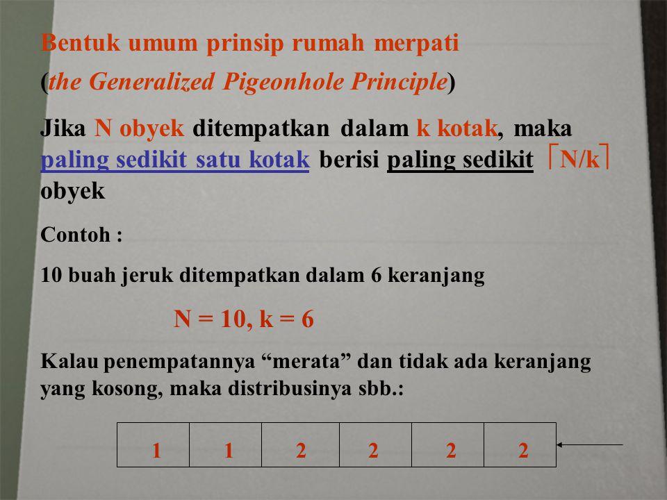 Bentuk umum prinsip rumah merpati