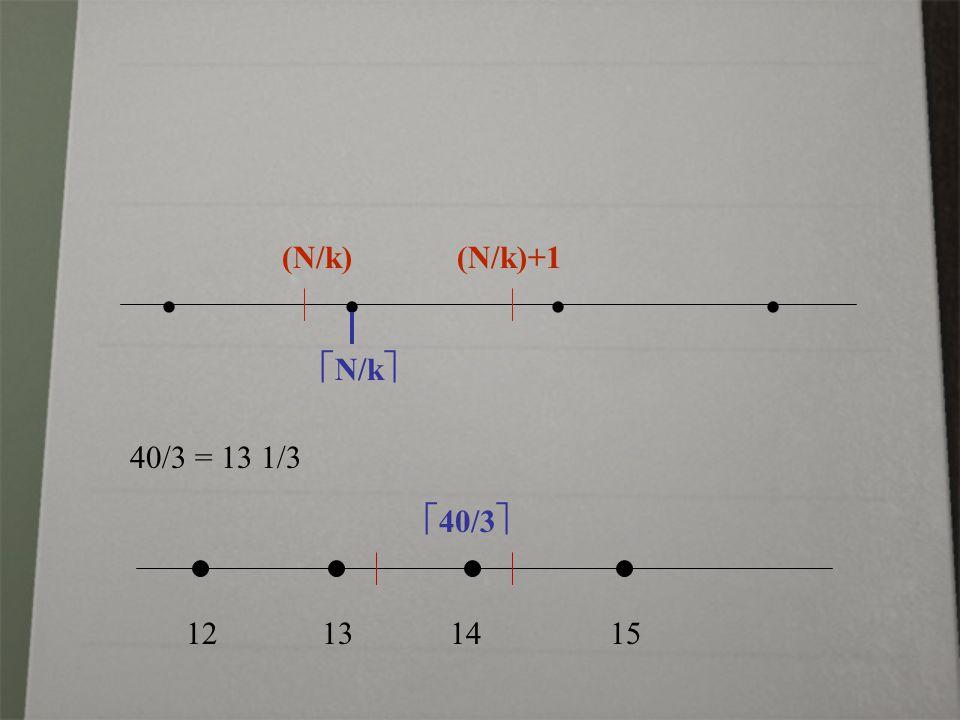 (N/k) (N/k)+1    