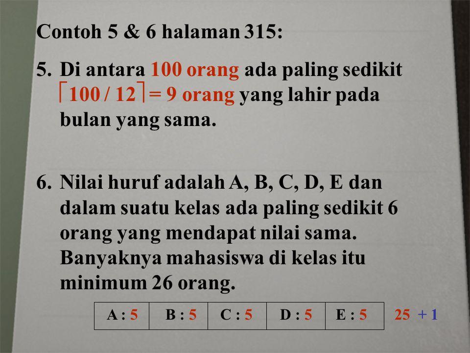 Contoh 5 & 6 halaman 315: Di antara 100 orang ada paling sedikit 100 / 12 = 9 orang yang lahir pada bulan yang sama.