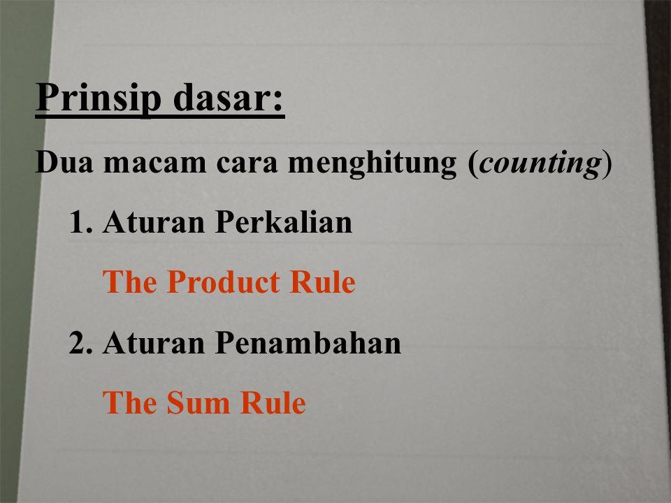 Prinsip dasar: Dua macam cara menghitung (counting) Aturan Perkalian