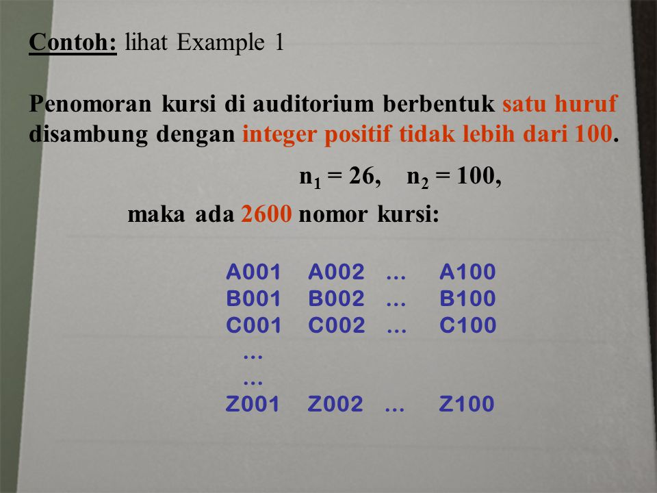 Contoh: lihat Example 1 Penomoran kursi di auditorium berbentuk satu huruf disambung dengan integer positif tidak lebih dari 100.