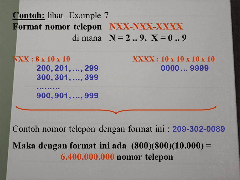 Format nomor telepon NXX-NXX-XXXX di mana N = 2 .. 9, X = 0 .. 9