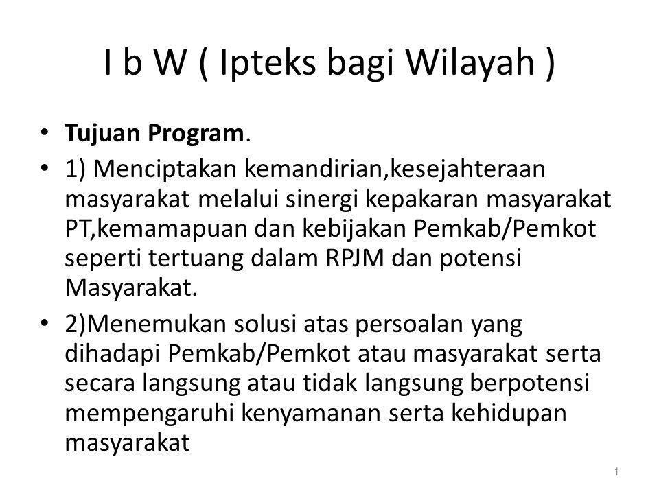 I b W ( Ipteks bagi Wilayah )