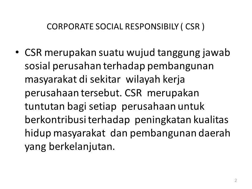CORPORATE SOCIAL RESPONSIBILY ( CSR )