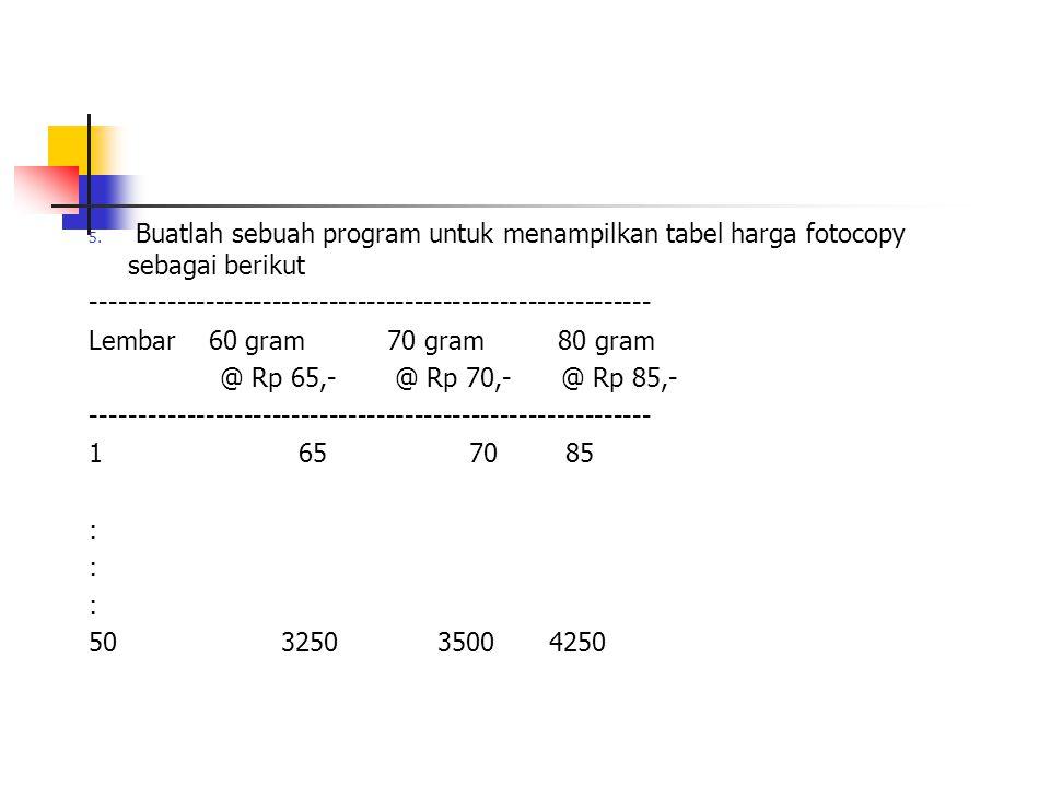 Buatlah sebuah program untuk menampilkan tabel harga fotocopy sebagai berikut