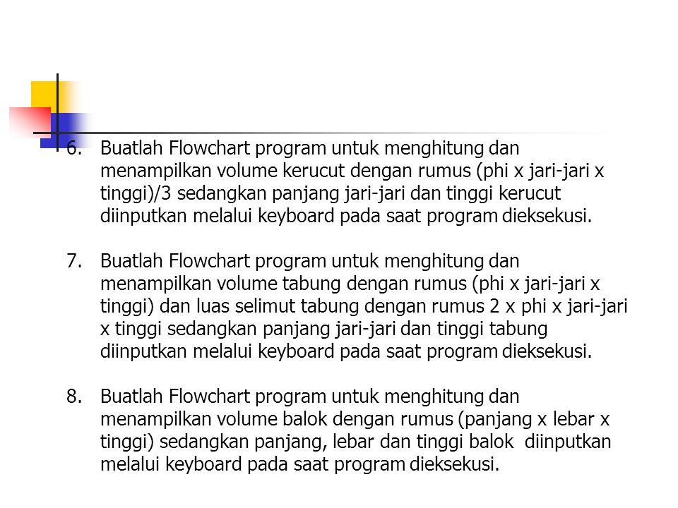 Buatlah Flowchart program untuk menghitung dan menampilkan volume kerucut dengan rumus (phi x jari-jari x tinggi)/3 sedangkan panjang jari-jari dan tinggi kerucut diinputkan melalui keyboard pada saat program dieksekusi.