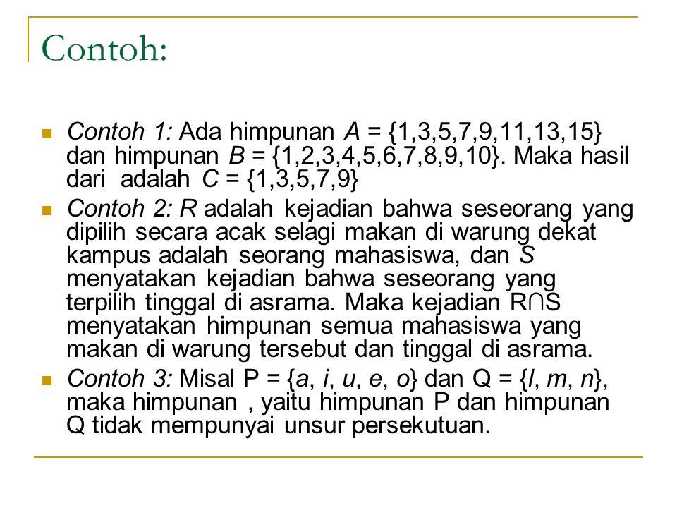 Contoh: Contoh 1: Ada himpunan A = {1,3,5,7,9,11,13,15} dan himpunan B = {1,2,3,4,5,6,7,8,9,10}. Maka hasil dari adalah C = {1,3,5,7,9}
