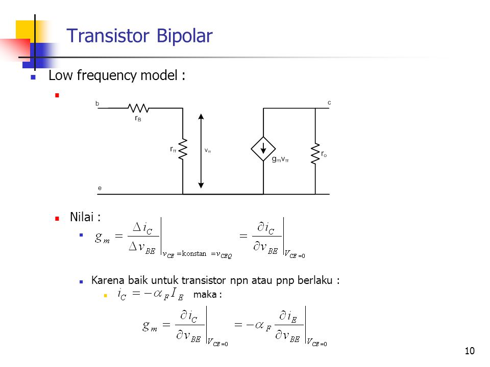 Transistor Bipolar Low frequency model : Nilai :