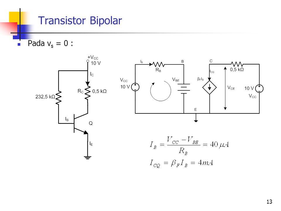 Transistor Bipolar Pada vs = 0 :
