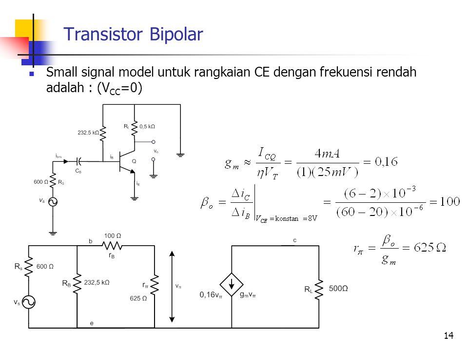 Transistor Bipolar Small signal model untuk rangkaian CE dengan frekuensi rendah adalah : (VCC=0)