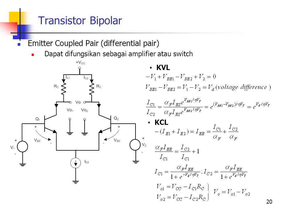 Transistor Bipolar Emitter Coupled Pair (differential pair)