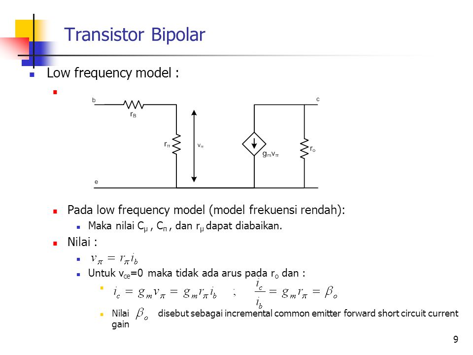 Transistor Bipolar Low frequency model :