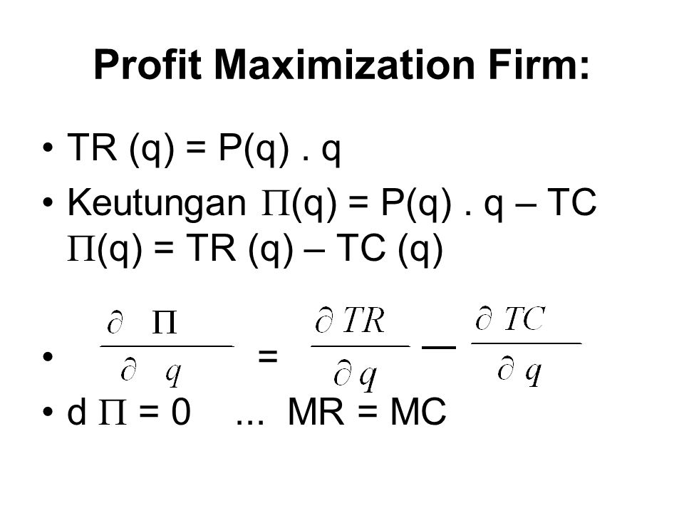 Profit Maximization Firm: