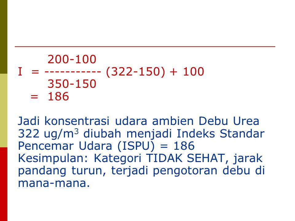 200-100 I = ----------- (322-150) + 100. 350-150. = 186.