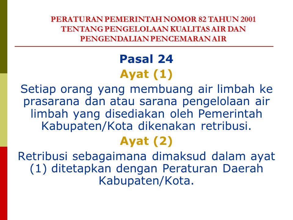 PERATURAN PEMERINTAH NOMOR 82 TAHUN 2001 TENTANG PENGELOLAAN KUALITAS AIR DAN PENGENDALIAN PENCEMARAN AIR