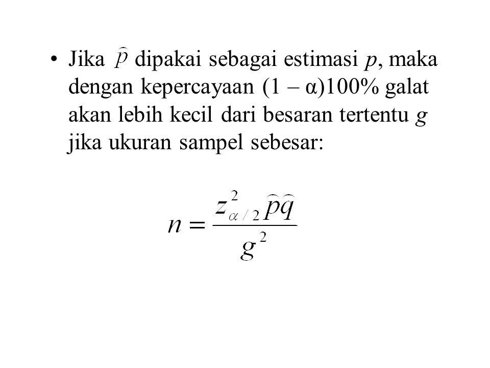 Jika dipakai sebagai estimasi p, maka dengan kepercayaan (1 – α)100% galat akan lebih kecil dari besaran tertentu g jika ukuran sampel sebesar: