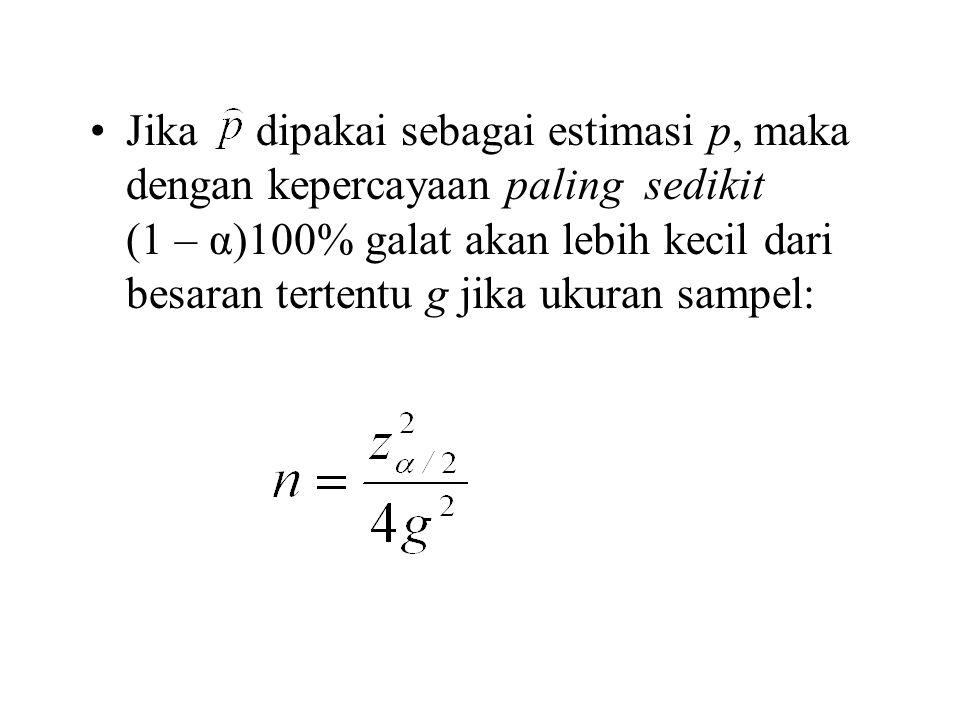Jika dipakai sebagai estimasi p, maka dengan kepercayaan paling sedikit (1 – α)100% galat akan lebih kecil dari besaran tertentu g jika ukuran sampel: