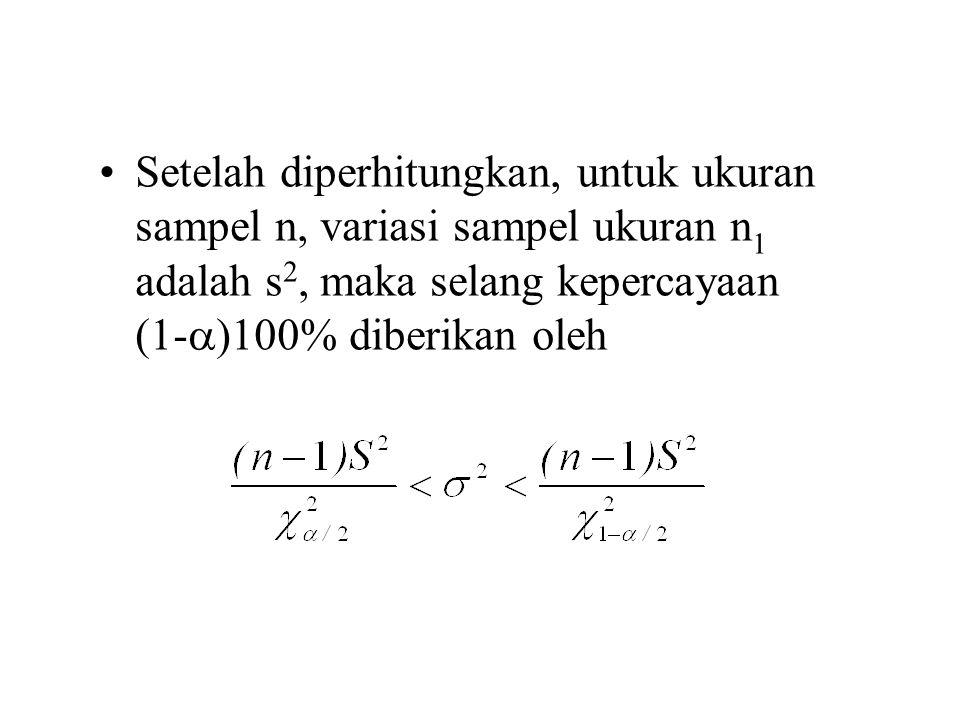 Setelah diperhitungkan, untuk ukuran sampel n, variasi sampel ukuran n1 adalah s2, maka selang kepercayaan (1-)100% diberikan oleh