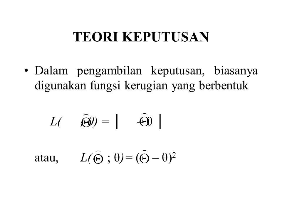 TEORI KEPUTUSAN Dalam pengambilan keputusan, biasanya digunakan fungsi kerugian yang berbentuk. L( ; θ) = │ – θ │