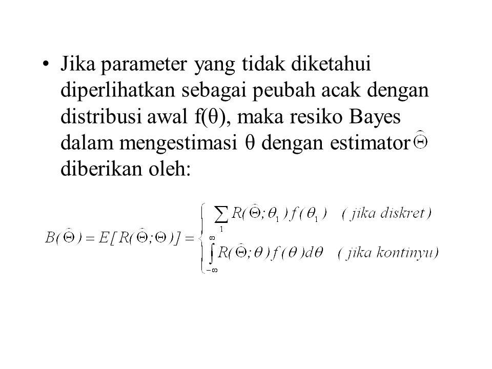 Jika parameter yang tidak diketahui diperlihatkan sebagai peubah acak dengan distribusi awal f(θ), maka resiko Bayes dalam mengestimasi θ dengan estimator diberikan oleh: