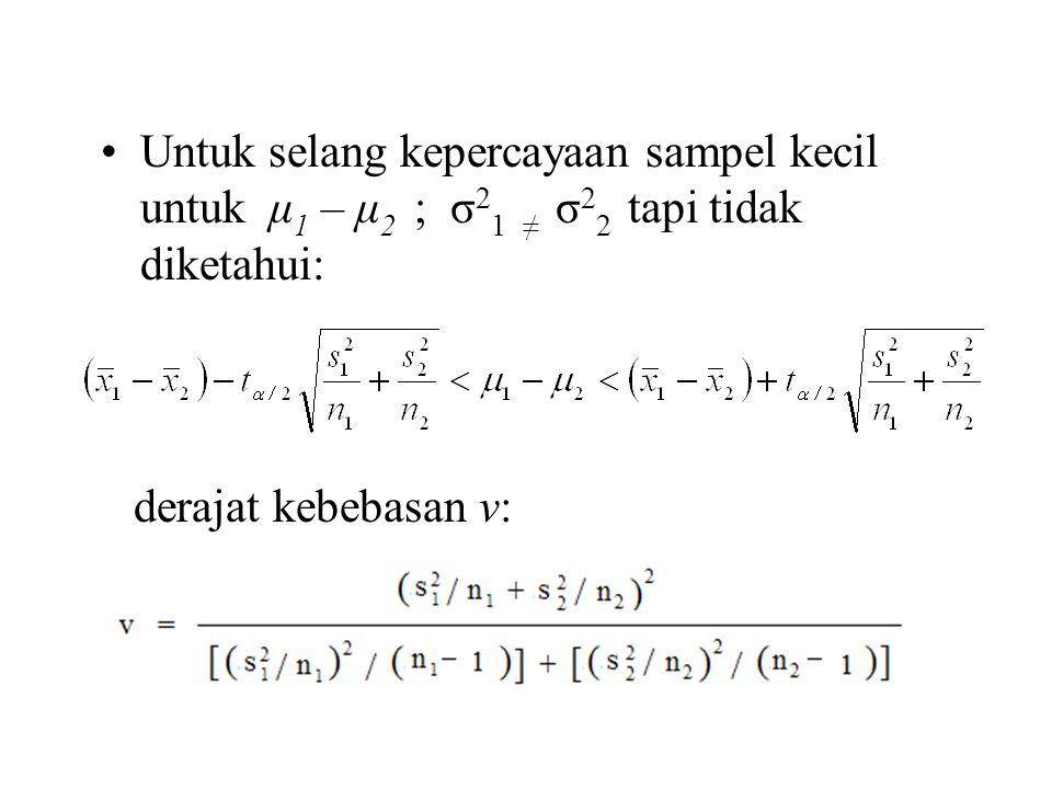 Untuk selang kepercayaan sampel kecil untuk μ1 – μ2 ; σ21 ≠ σ22 tapi tidak diketahui: