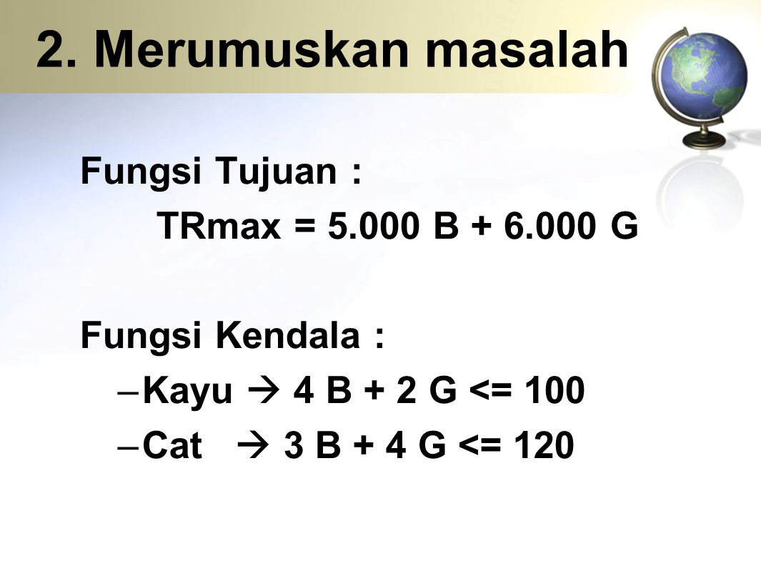 2. Merumuskan masalah Fungsi Tujuan : TRmax = 5.000 B + 6.000 G