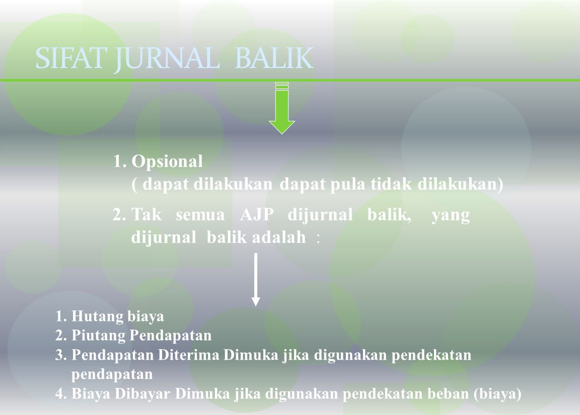 SIFAT JURNAL BALIK 1. Opsional