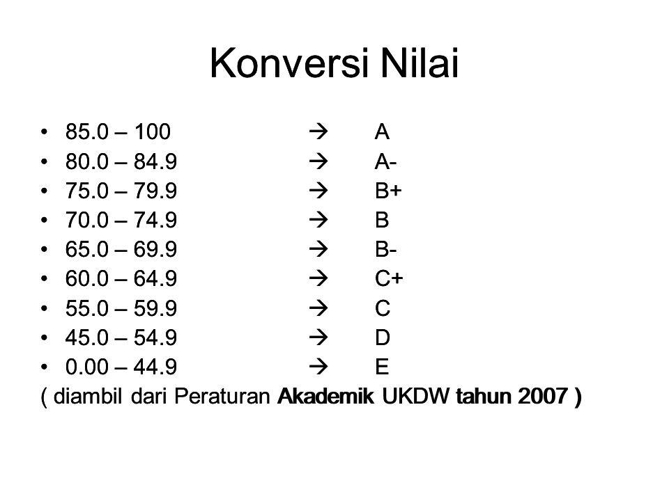 Konversi Nilai Konversi Nilai 85.0 – 100  A 80.0 – 84.9  A-