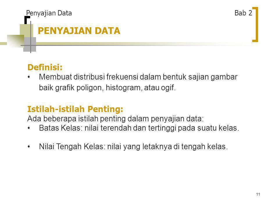 PENYAJIAN DATA Definisi: Istilah-istilah Penting: