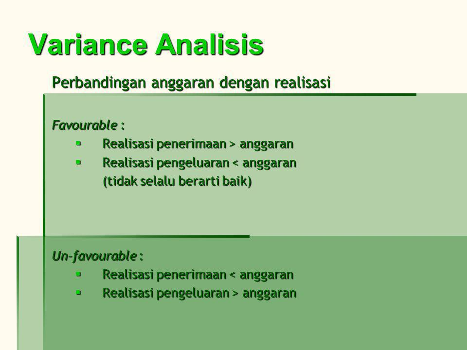 Variance Analisis Perbandingan anggaran dengan realisasi Favourable :