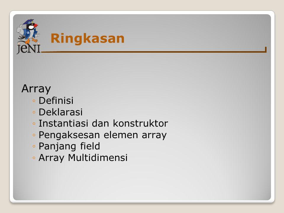 Ringkasan Array Definisi Deklarasi Instantiasi dan konstruktor