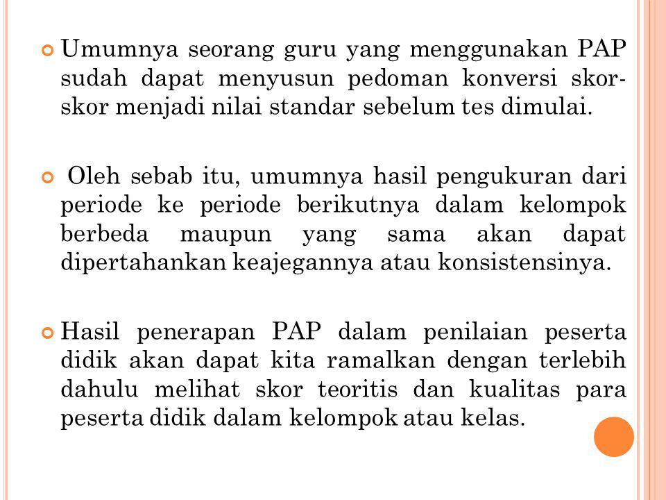 Umumnya seorang guru yang menggunakan PAP sudah dapat menyusun pedoman konversi skor- skor menjadi nilai standar sebelum tes dimulai.